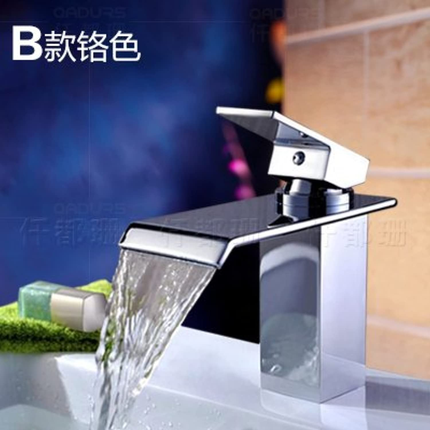 Hlluya Professional Sink Mixer Tap Kitchen Faucet A vanity area with water faucet basin waterfall faucet hot and cold full copper sink vanity faucet surface basin faucet single hole, B Chrome color