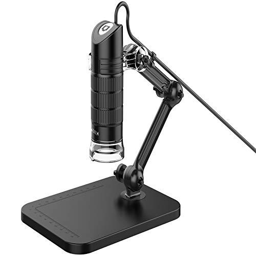 SNOWINSPRING HD USB Microscopio Digital LED Microscopio ElectróNico Endoscopio Zoom CáMara Lupa Soporte de Luz Herramientas para la Vida Laboral Escuela