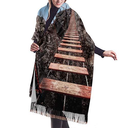 YANAIX Klassischer Winterschal für Frauen im Herbst, Hängebrücke auf dem Berg Ai-Petri auf der Krim, Russland, Schal Warm Soft Chunky Large Blanket Wrap Schal Schals