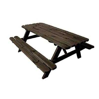 AVANTI TRENDSTORE – Verena – Tavolo da picnic con 2 panche integrato alla struttura e angoli arrontondati, in legno massello robusto. Dimensioni LAP 178x72x75 cm.