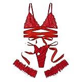 Sujetador de encaje, talla grande, sujetador para mujer, lencería de pierna, anilla en forma de G rojo M