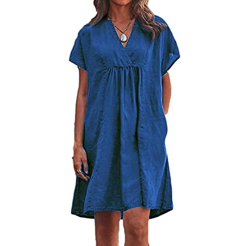 Vestido de Verano para Mujer, Cuello en V, Manga Corta, Holgado, Camiseta, Vestidos, Vestido Midi de Color sólido