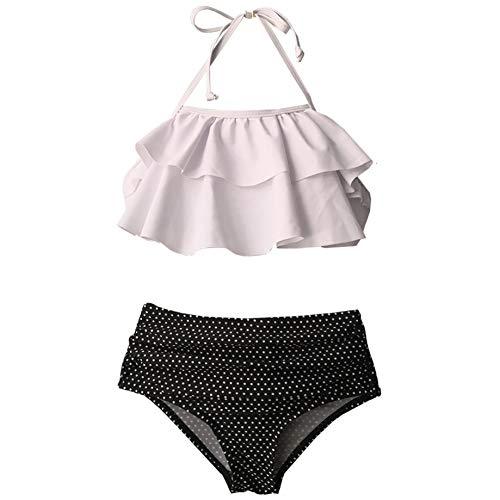 DAOYOU Dot Teenage Girl Bikini Set Hohe Taille 5-14 Jahre Mädchen Badeanzug Kinder Rüschen Zweiteilige Kinder Badebekleidung Halfter Top