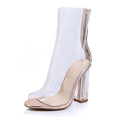 ANNIESHOE Stiefeletten Damen Kurzschaft High Heels Frühling Sommer Schuhe Transparent 39CN 38EU...
