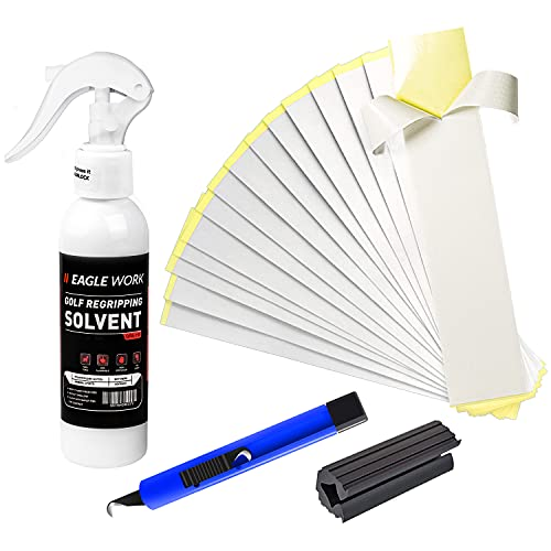 EAGLE WORK Golf Regriping Kits with 15 Scrim-Backed Tapes, 5oz Solvent, Vise Clamp and Hook Blade