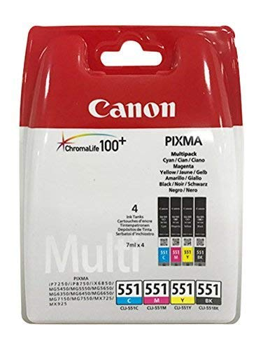 Original Druckerpatronen für Canon PIXMA iP7250/ 8750, iX6850, MG 5450/ 5550/ 5650/ 6350/ 6450/ 6650/ 7150/ 7550, MX725/ 925 (Multi (4er))