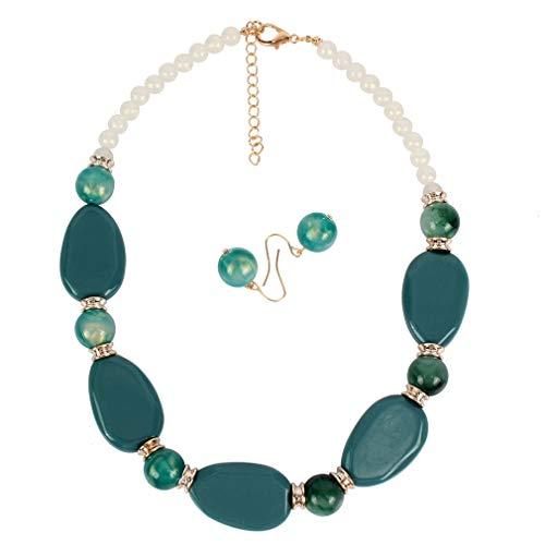 YAZILIND Simple acrílico Perlas Collar Pendientes Moda señoras Fiesta joyería Conjunto(Color2)