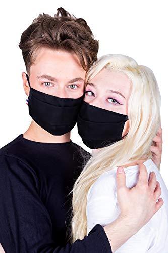 Masque de Protection Visage Catégorie1- UNS1 Tissu Lavable 50 fois Barrette Nasale, réglages Made in France Normes AFNOR par Lot de Deux Pièces (Noir)