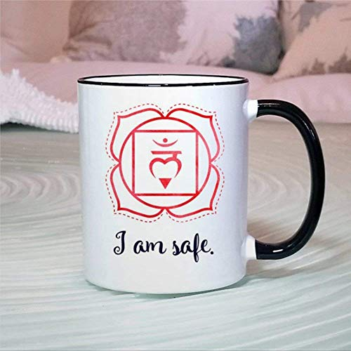 N\A Taza Divertida Raíz Primer Chakra Taza de té de café de cerámica Taza de curación energética de Yoga Regalo para Amigo Familia Niños Amante Colega 11 oz