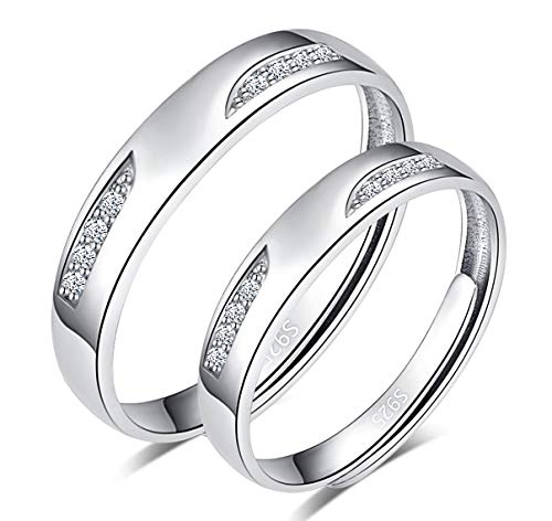 CPSLOVE Anillo de plata de ley 925 para pareja, anillo para hombre y mujer, con incrustaciones de circón, tamaño ajustable, el mejor regalo para el día de San Valentín y Navidad