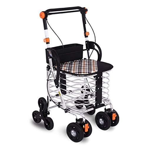 GAOFQ Carro de Compras Plegable, Carro portátil, Andador portátil de Cuatro Ruedas, Puede Subir escaleras para Comprar carros de Comida, peatones, vagón Viejo