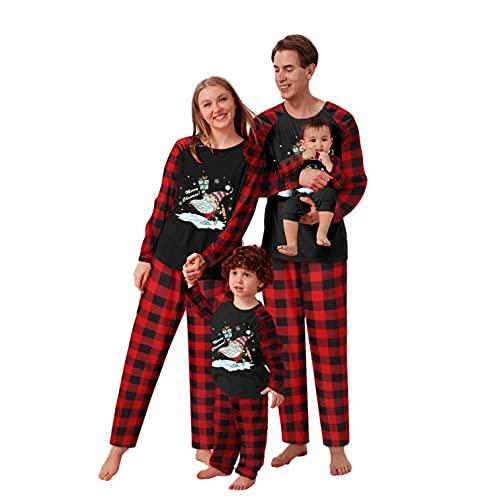 Weihnachten Schlafanzug Elk Druck Pullover+Plaid Hosen Weihnachtspyjama Familie Set, Mama Papa Kleinkinder Nachtwäsche Christmas Party Herren Damen Mädchen Jungen Xmas Kleidungs Oberteile
