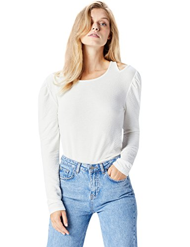Amazon-Marke: find. Damen Langarmshirt mit Cut-Out-Details, Elfenbein (Ivory), 36, Label: S