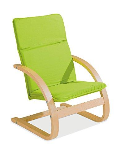 Home4You Kindersessel Kinderstuhl Freischwinger | Apfelgrün | Holz | Baumwolle | Sitzhöhe 28 cm