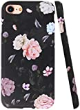 A-Focus Case for New iPhone SE 2020 Case Flowers, iPhone 8 Case Rose, iPhone 7 Case Floral Frosted IMD Series Anti Scratch Flexible Slim TPU Case for iPhone SE / 8/7 4.7 inch Matte Flower Black
