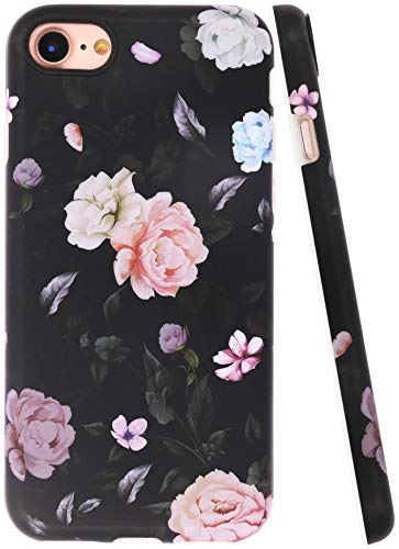 A-Focus Compatible with New iPhone SE 2020 Case Flowers iPhone 8 Case Rose iPhone 7 Case Floral Frosted IMD Series Flexible Slim TPU Case Design for iPhone SE / 8/7 4.7 inch Matte Flower Black