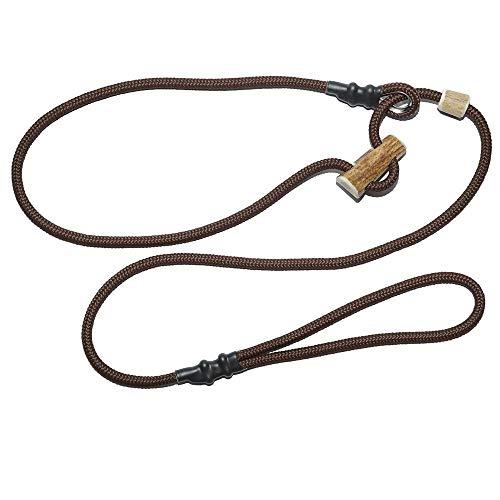 KENSONS for dogs Retrieverleine Sporty | robuste Hundeleine aus Tau mit integrierter Halsung | Ø6mm | Horn-Zugstopp