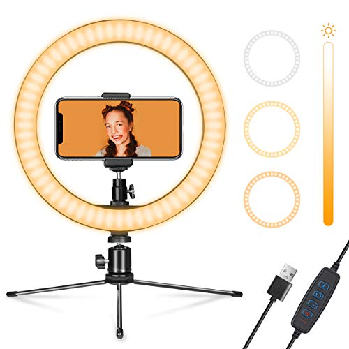 "Ring Light 10"" with Stand & Phone Holder for YouTube Video, Dimmable Desk LED Ring Light with Cell Phone Holder for Photography, Shooting, Tiktok, Selfie (2020 New Version)"