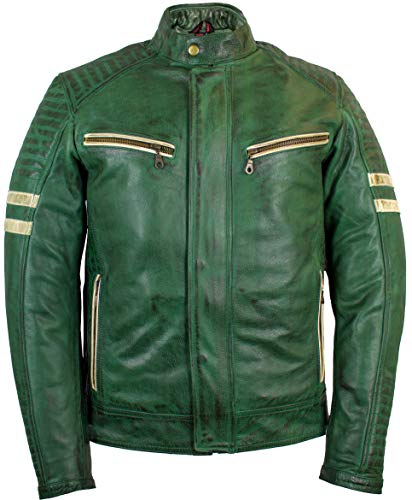 MDM Retro Motorradjacke Lederjacke mit Protektoren in grün (3XL)