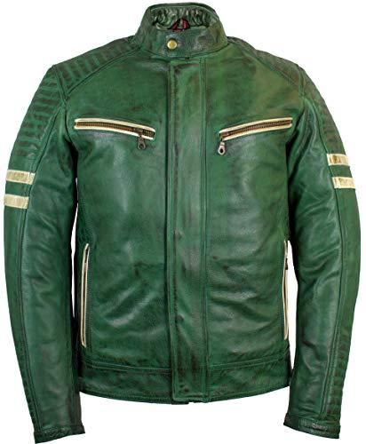 MDM Retro Motorradjacke Lederjacke mit Protektoren in grün (2XL)