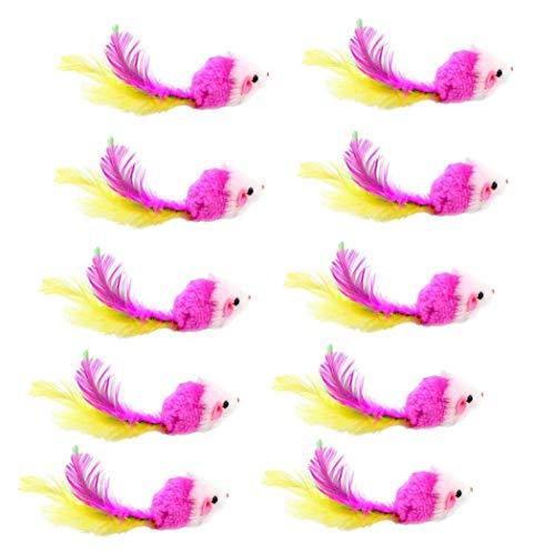 Deanyi Echtpelz Mäuse fangen Spielzeug Katzenspielzeug Regenbogen-Mäuse Kaninchen-Feder für Katzen und Kätzchen zufällige Farbe 10pcs