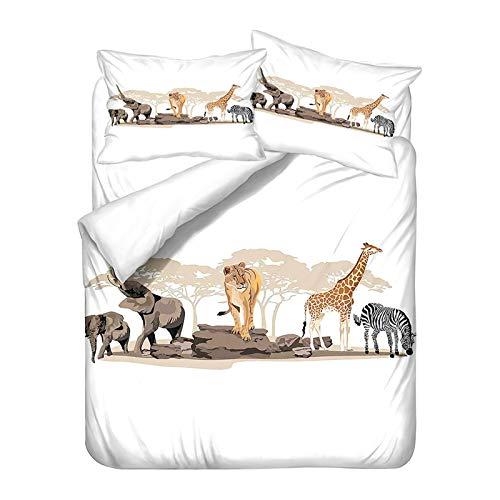 YZDM - Juego de cama con cremallera, diseño de elefante de animales, 1/2 persona, 100% microfibra, para niños y adultos (D,240 x 220)