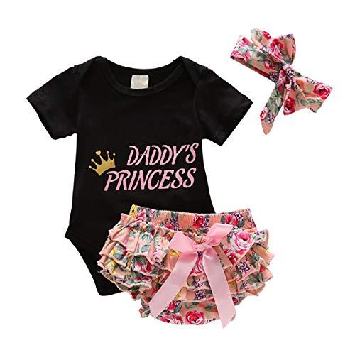 0-18M Newborn Baby Girls Romper Jumpsuit Bodysuit, Pants Shorts, Headband Sets (Black-01, 6-12 Months)