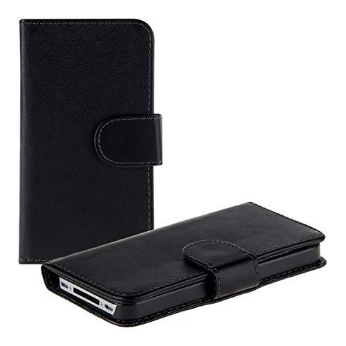kwmobile Wallet Hülle Hülle kompatibel mit Apple iPhone 4 / 4S - Cover Flip Tasche mit Kartenfach in Schwarz