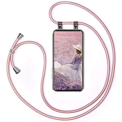 moex Handykette kompatibel mit Samsung Galaxy S20 / S20 5G - Silikon Hülle mit Band - Handyhülle zum Umhängen - Hülle Transparent mit Schnur - Schutzhülle mit Kordel, Wechselbar in Rosegold