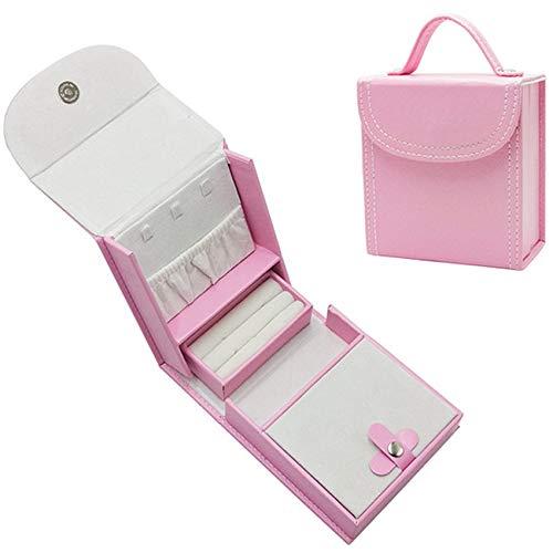Caja De Joyería De 12 * 11 * 6 Cm, Caja De Joyería, Joyería Portátil De Cuero PU, El Regalo Ideal para Niñas,Rosado