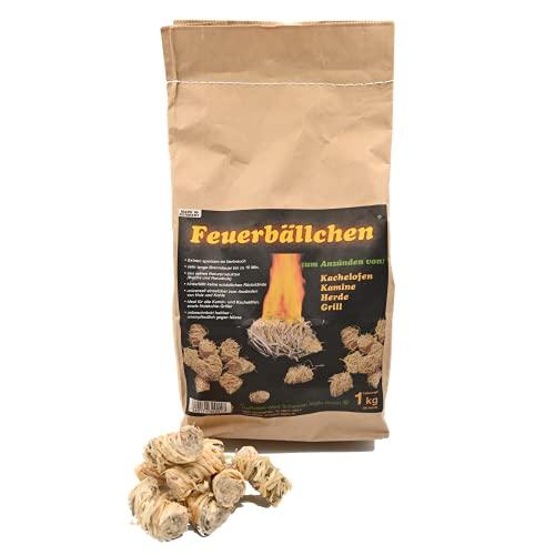 Feuerbällchen - das Original - zum Anzünden von Kachelofen, Kamin, Herd, Grill, Lagerfeuer - aus reinen Naturprodukten - unempfindlich gegen Nässe - Made in Germany - 1 kg Tüte (ca. 80 Stück)