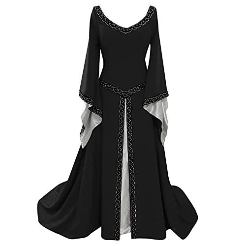 Dasongff Princesse Renaissance Costume Femmes Robe Médiévale Deguisement Victorienne Robe Gothique Femme Lolita Maxi Robe Palais Robe Médiévale Cosplay pour Carnaval Halloween Mascarade