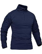 KEFITEVD Mannen Slim Fit Militaire Tactische Lange Mouwen Shirt 1/4 Front Zip Camouflage Airsoft Shirts Outdoor Combat t Shirt