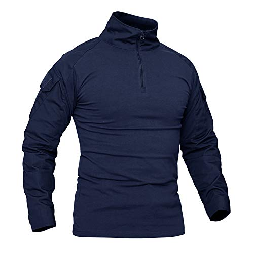 KEFITEVD Military Shirt Herren Half Zip Army Pullover Männer Tactical Shirt mit Patch Klett Elastisch Angeln T-Shirt Taktisch Combat Shirt Feldbluse Navy Blau L