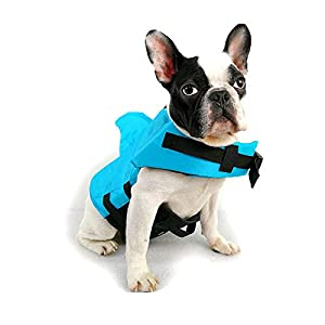 TOFOAN Dog Life Jacket Shark, Dog Life Vest for Small Medium, Professional Pet Dog Lifesaver Preserver Cold Weather Coat Swim Suit Perfect for Safety Swimming, Boating, Pool, Beach (Blue-M)
