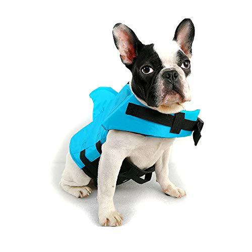 TOFOAN Hundeschwimmweste Hai, Hundeschwimmweste für kleine und mittelgroße Hunde, professionelle Rettungsweste für kaltes Wetter, ideal für Sicherheitsschwimmen, Bootfahren, Pool, Strand (blau-L)