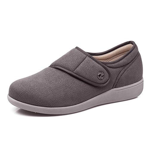 W&Le-Slippers Womens Wide Width Walking Shoes, Lightweight Air Cushion Sneakers Easy On and Off for Elderly(6, Grey)