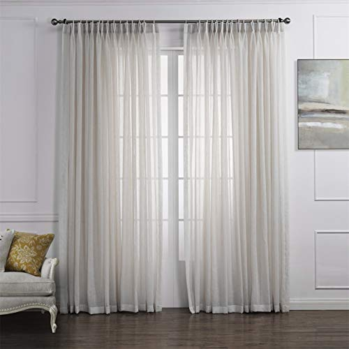 """LoyoLady Off White Sheer Linen Curtains 63 Inch Length 2 Panels Pinch Pleated Curtains for Bedroom 72"""" W x 63"""" L"""