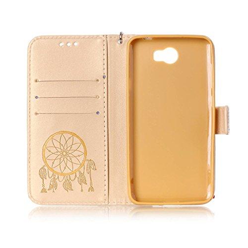 ISAKEN Huawei Y5 II Hülle, Glitzer PU Leder Brieftasche Geldbörse Wallet Case Handyhülle Tasche Schutzhülle Etui mit Handschlaufe für Huawei Y5 II/Huawei Y6 II Compact - Dream Catcher Gold - 5