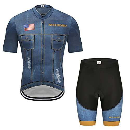 Traje de Ciclismo Hombre, Conjunto de Camiseta de Manga Corta MTB Transpirable para Verano y Otoño, Jersey + Pantalones Cortos y Babero Acolchado para Ciclismo Deportes al(Size:Extragrande,Color:azul)