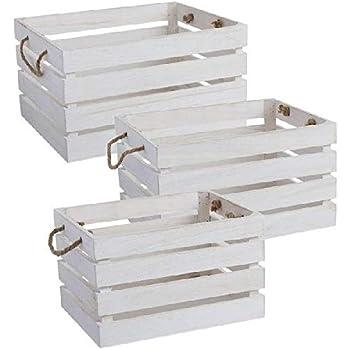 Dcasa Juego 3 Madera Cajas Almacenaje de Adornos Festivos Artículos para el hogar Unisex Adulto, Blanco (Blanca), única: Amazon.es: Hogar