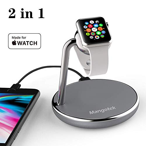 Mangotek Apple Watch Charging Stand, with Magnetic Charger Module and USB Port for iWatch Series 4/3/2/1 (38mm/40mm/42mm/44mm) and iPhone, Nightstand Mode Apple MFi Certified
