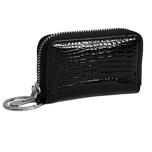 DrachenLeder Damen Herren Autoschlüsseltasche Etui schwarz Echtleder 9x2x5cm OPJ903S Leder Schlüsseltasche