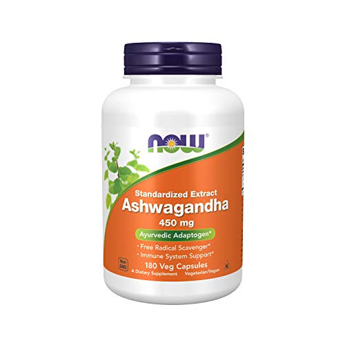 NOW Supplements, Ashwagandha (Withania somnifera)450 mg (Standardized Extract), 180 Veg Capsules