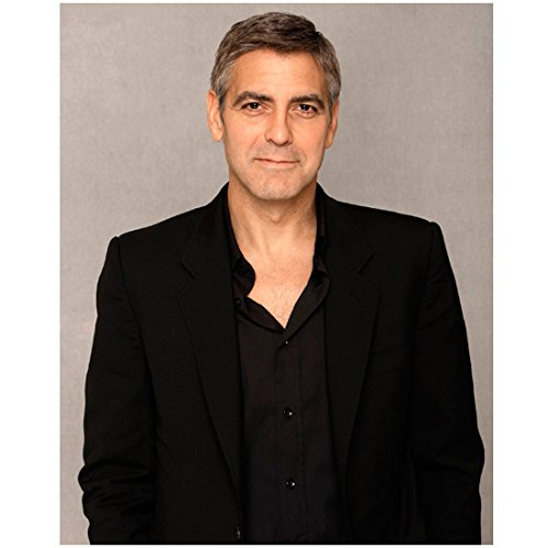 George Clooney 8 X 10 Photo Black Jacket & Shirt Cute Smile Grey Background kn