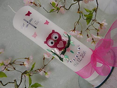 Taufkerze Eule rosa pink Taufkerzen Mädchen 250/70 mm inkl. Beschriftung