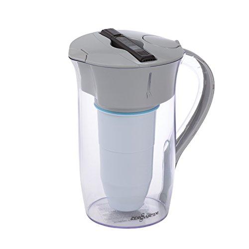ZeroWater Jarra Redonda de filtración de agua de 1,9 litros, con Medidor de Calidad de Agua Gratis | Libre de BPA y certificada para Reducir el Plomo y Otros Metales Pesados
