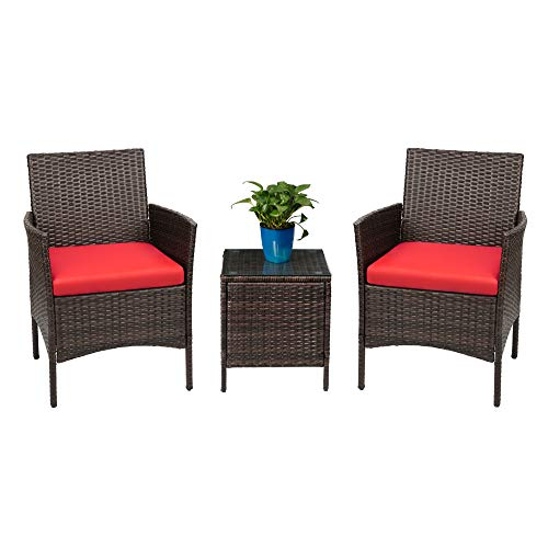Devoko 3-Piece Brown/Biege Rattan Patio Porch Furniture
