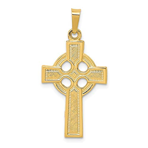 14k Yellow Gold Solid Polished Irish Claddagh Celtic Trinity Knot Religious Faith Cross Charm Pendant Necklace Measures 23x15mm Jewelry Gifts for Women