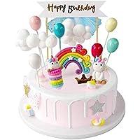 iZoeL Unicornio Decoración de Tartas Cumpleaños Happy Birthday Banderines Globos Arcoiris Nube Cake Topper Decorar Tartas Infantiles Niñas